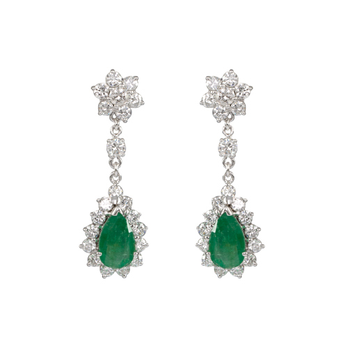 LAVERA Emerald and Diamond  Earrings