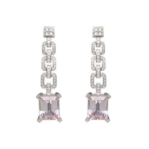 LAVERA Kunzite and Diamond Earrings