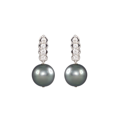 Tahiti Pearl and Diamond Earrings