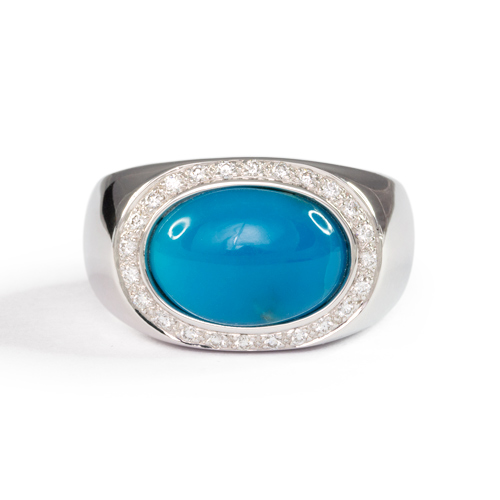 Men's Turquoise and Diamond Ring