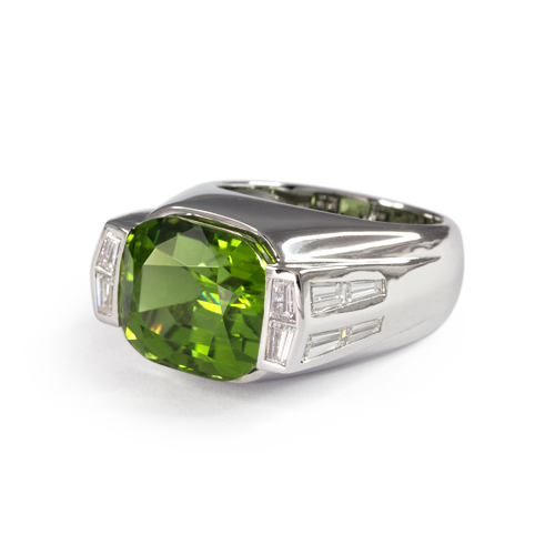 Men's Peridot and Diamond Ring