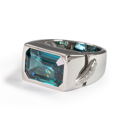 Men's Blue Zircon and Diamond Ring