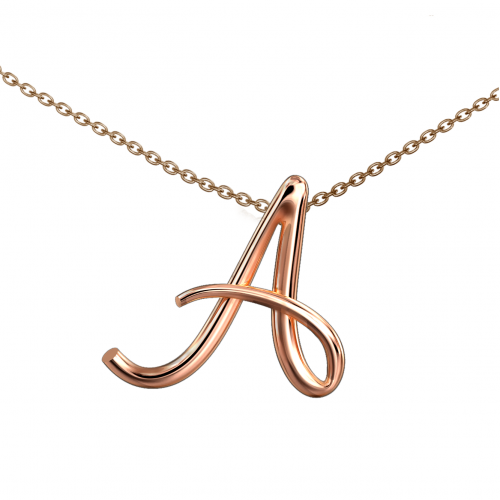 "Alphabets of Love - ""A"" with Italy Gold Chain in 18K Rose Gold"
