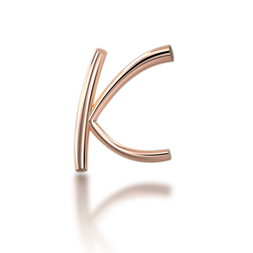 "Alphabets of Love - ""K"" in 18K Rose Gold"