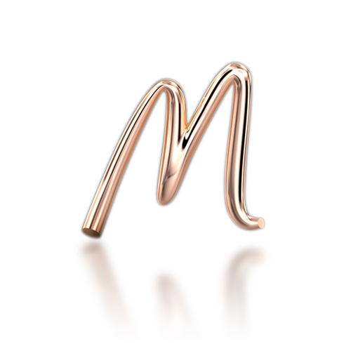 "Alphabets of Love - ""M"" in 18K Rose Gold"