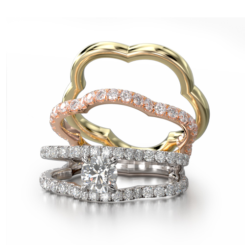 Diamond Engagement Ring Set (for stacking)