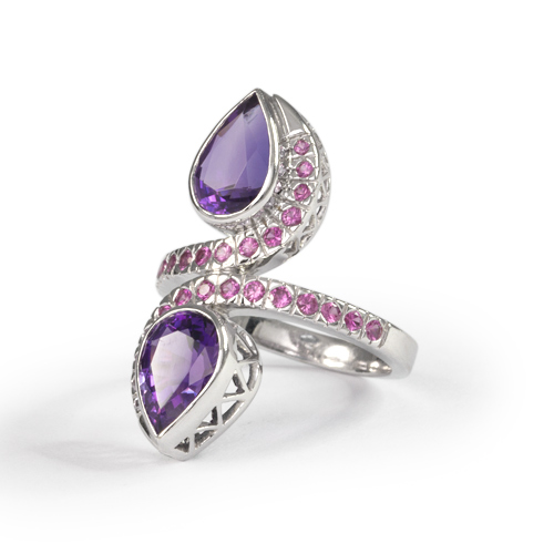 LAVERA Amethyst and Pink Sapphire Ring